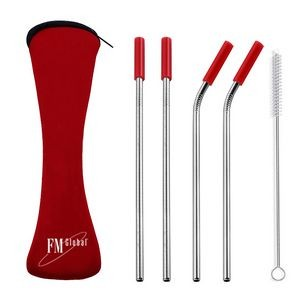 Stainless Steel Drinking Straw with Cleaner in Neoprene Bag